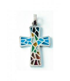 Krzyżyk kolorowy model 221 srebro