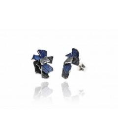 Kolczyki SUMMUM średnie Electric Blue srebro